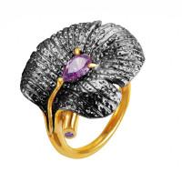Серебряное кольцо с сваровски ПВР-0125Бср