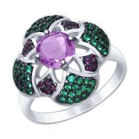 Серебряное кольцо с аметистами и фианитами ДИ92011430