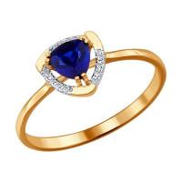 Золотое кольцо с корундами сапфирами и бриллиантами ДИ2011017
