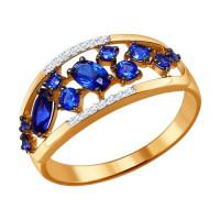 Золотое кольцо с корундами сапфирами и бриллиантами ДИ6012042
