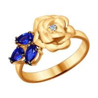 Золотое кольцо с бриллиантом и корундами сапфирами ДИ6012052