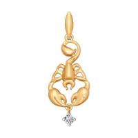 Золотой знак зодиака «скорпион» с фианитами ДИ034813