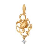 Золотой знак зодиака «водолей» с фианитами ДИ034816