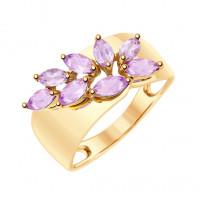 Золотое кольцо с аметистами ДИ715208