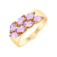 Золотое кольцо с аметистами ДИ715223