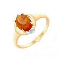 Золотое кольцо с янтарем и фианитами ДИ715130