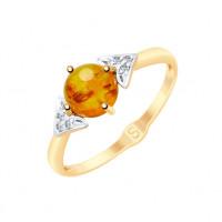 Золотое кольцо с янтарем и фианитами ДИ715176