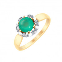 Золотое кольцо с агатами и фианитами