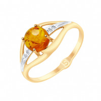 Золотое кольцо с янтарем и фианитами ДИ715145