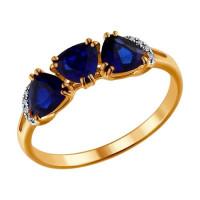 Золотое кольцо с корундами сапфирами и бриллиантами ДИ2011014
