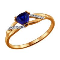 Золотое кольцо с корундом сапфиром и бриллиантами ДИ2011015