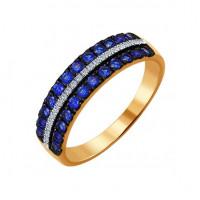 Золотое кольцо с бриллиантами и сапфирами ДИ2011038