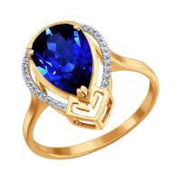 Золотое кольцо с бриллиантами и корундами сапфирами ДИ6012009