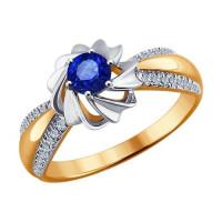 Золотое кольцо с бриллиантами и сапфиром ДИ6012054