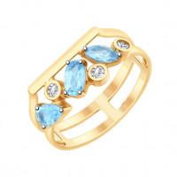 Золотое кольцо с топазами и фианитами ДИ715177
