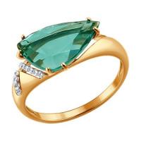 Золотое кольцо с кварцем и фианитами ДИ714117