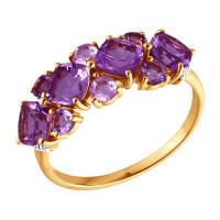 Золотое кольцо с аметистами и аметистами фианитами ДИ713522