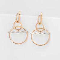 Золотые серьги подвесные с фианитами СН01-215595