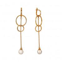 Золотые серьги подвесные с жемчугом СН0122-24