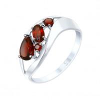 Серебряное кольцо с гранатами ДИ92011575