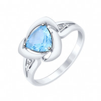 Серебряное кольцо с топазами и фианитами ДИ92011478