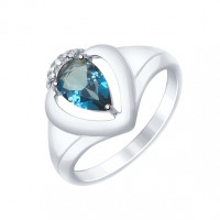 Серебряное кольцо с топазами и фианитами ДИ92011470