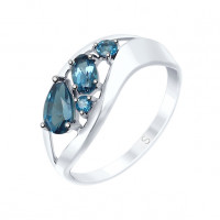 Серебряное кольцо с топазами ДИ92011573