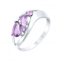 Серебряное кольцо с аметистами ДИ92011574