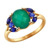 Золотое кольцо с агатами и корундами ДИ714327