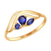Золотое кольцо с корундами ДИ714616