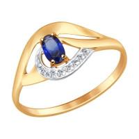 Золотое кольцо с корундами и фианитами ДИ714644