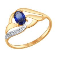 Золотое кольцо с корундами и фианитами ДИ714648