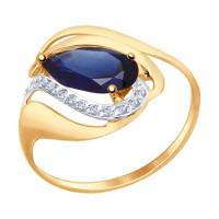 Золотое кольцо с корундами и фианитами ДИ714689
