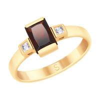 Золотое кольцо с гранатами и сваровски