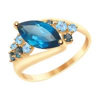 Золотое кольцо с топазами ДИ715027