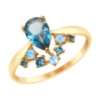 Золотое кольцо с топазами ДИ715028