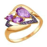 Золотое кольцо с аметистами и фианитами ДИ714778