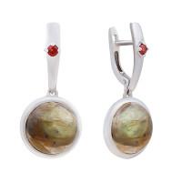 Серебряные серьги подвесные с лабрадорами и гранатами ИЕНМС2-СЛ17лр