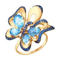 Золотое кольцо с топазами и фианитами ДИ714792