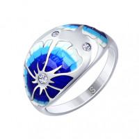 Серебряное кольцо с фианитами и эмалью ДИ94012552