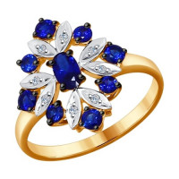 Золотое кольцо с корундами сапфирами и бриллиантами ДИ6012074