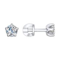 Золотые серьги гвоздики с бриллиантами ДИ1021181