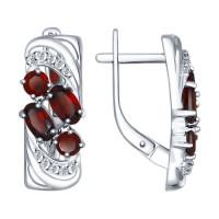 Серебряные серьги с гранатами и фианитами ДИ92021362