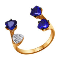 Золотое кольцо с корундами сапфирами и бриллиантами ДИ6012047