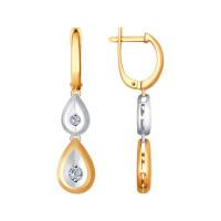 Золотые серьги подвесные с бриллиантами ДИ1021205
