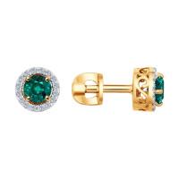 Золотые серьги гвоздики с бриллиантами и изумрудами ДИ3020432