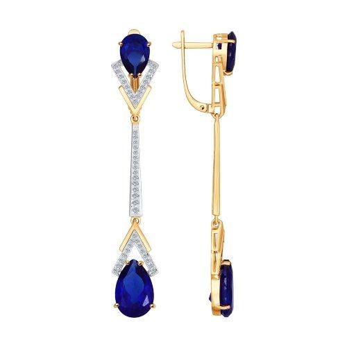 Золотые серьги подвесные с бриллиантами и корундами ДИ6022072