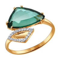 Золотое кольцо с кварцем и фианитами ДИ714114