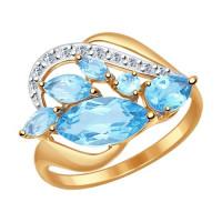 Золотое кольцо с топазами и фианитами ДИ714499