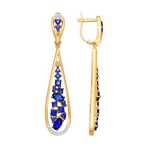 Золотые серьги подвесные с корундами сапфирами и бриллиантами ДИ6022033
